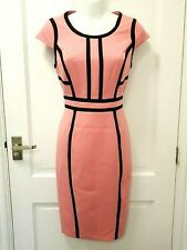 Dorothy Perkins Pink Black Pencil Dress Barbie Ladies Paneled Bodycon Party 8