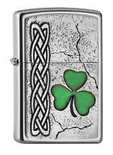 """ZIPPO """"IRISH SHAMROCK"""" SATIN FINISH EMBLEM LIGHTER * NEW in BOX *"""