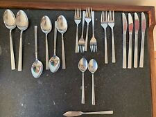 """AMC """"SILHOUETTE"""" forged stainless flatware, JAPAN, 17 ass't pieces, RARE VTG MCM"""