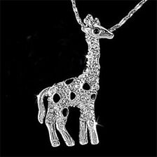 Fashion 18K white Gold plating Giraffe Crystal Pendant Necklace