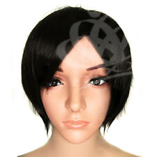 Straight Natural Black short layer full Women Wig wigs  disco party cosplay Hair