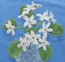 Vintage French Glass Beaded White Violet #2 Flower Bouquet