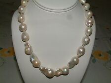 """Unique Baroque Pearls 18"""" 15-23mm Hand Knotted, Silver Clasp -U.S. Seller"""
