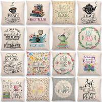 Coffee Book Letter Cushion Cover Linen Waist Throw Pillow Case Sofa Home Decor