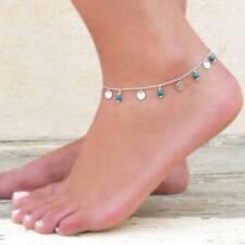 Vintage Fashion Metal Sequins Turquoise Fringed Bare Anklet