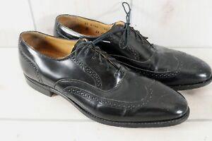 Johnston Murphy Optima Black Leather Wingtip Shoes Brogues Gunboats Mens 11 B
