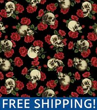 "Skulls and Roses Fleece Fabric - 60"" Wide - Style# 5305 - Free Shipping!!"