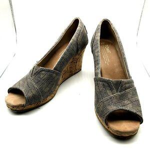 Toms Wedge Gray Canvas Cork Peep Toe Shoe Size 8 Wedge Heel