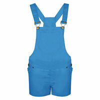 NEW WOMENS LADIES DENIM DUNGAREE GIRLS SHORTS DRESS JUMPSUIT SIZE 8 10 12 14 16
