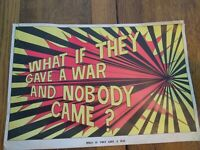"""Original 1960's Black Light Poster ~ """"What If They Have A War"""""""