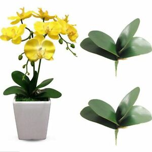 2x Artificial Butterfly Orchid Leaf Flower Fake Plants Home Decor Wedding Party-
