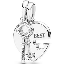 "PANDORA Charm Dangle Element 398130 ""Heart and Key"" Best Friends Silber Bead"