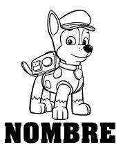 Pegatina vinilo PAW PATROL, patrulla canina ,PERSONALIZADO CON NOMBRE no436