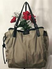 BURBERRY Women's Olive Green Nylon Leather Trims Nova Check Packable Tote Bag