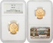 USA 1881 LIBERTY $5 Gold NGC MS63