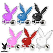 Surgical Steel Cartilage / Tragus Barbell With Enamel Coated Playboy Bunny