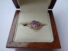 9ct gold amethyst & diamond ring size M 1/2