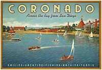 Coronado vintage travel fine art print Kerne Erickson huge 39 x 26 iconic beach