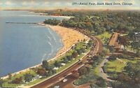 Aerial View, South Shore Drive, Lake Michigan Chicago, Illinois Vintage Postcard