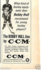 1969 Print Ad of CCM Bobby Hull Line Youngsters Hockey Equipment