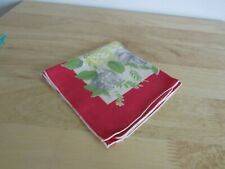 Handkerchief Hanky Hankie Vintage Floral approx 11 x 11 Red Blue Yellow Green