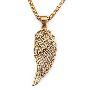 Men's Stainless Steel Angel Wing with Crystals Pendant Necklace