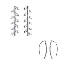 Boucles d'oreilles feuilles de Laurier en argent Rhodié et Zirconium
