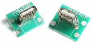 2 x USB Vertical Type A Female Socket Breakout Board 2.54mm Pitch Connector DIP