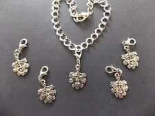 THE GREEN MAN FACE FOREST SPIRIT silver tone charm clip on for charm bracelets