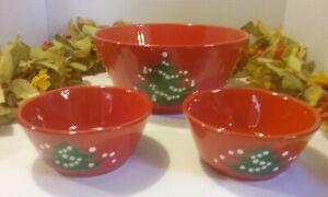 Waechtersbach Christmas Tree Serving Bowl and 2 Smaller Bowls Lot of 3