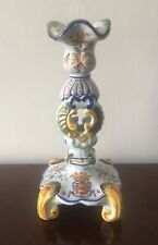 Antique French Faience Rouen Crest Candlestick Large