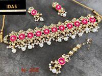 Indian Kundan Jewelry Gold Plated Choker Necklace Earrings Tikka Set Rani ES7