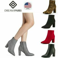 DREAM PAIRS Women's Faux Fur Ankle Boots Chunky Block Heel Pointed Toe Zip Boots