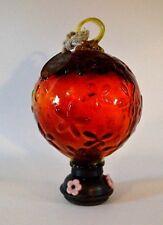 Par a sol Parasol Hummingbird Hand Blown Glass Hanging Feeder Dark Orange Black