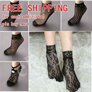 Soft Black Fishnet Mesh Lace Ruffle Socks Stockings Short Ankle 2020 Women