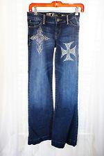 !IT Jeans DIVA Flare Sequin Rhinestone Cross Front Bling Beltloops Rear PKT
