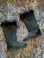 USED CONDITION - LOVE FROM AUSTRALIA LFA - BLACK MARABOU FEATHER TOP BOOTS 4 37