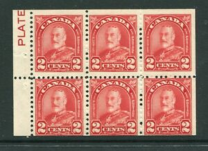 """CANADA Scott 165bi - LH - 2¢ Red Arch/Leaf Booklet Pane of 6 with """"PLATE"""" (.006)"""
