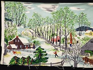 Vintage Grandma Moses Early Springtime on the Farm Cotton Barkcloth Fabric 1940s