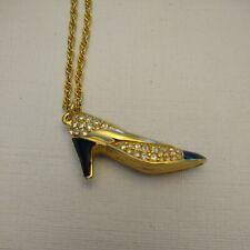 """Swarovski Shoe Swan Signed Goldtone Black Enamel Crystal High Heel 23"""" Necklace"""