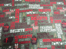 HOLIDAY CHRISTMAS NOEL BELIEVE LOVE ++ FLANNEL FABRIC~SEW-RAG QUILT TIE BLANKET