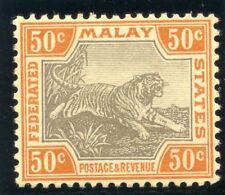 Malaya Federated States 1906 KEVII 50c grey-brown & orange-brown (O) MLH. SG 47c