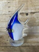 "Murano Style hand blown art glass FISH paperweight figurine blue white 8"" X 6"""
