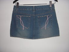 Aeropostale Sz 7/8 Dizstressed Denim Jean Mini Skirt Pink Stitch Pocket stripper