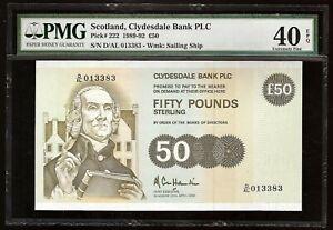 SCOTLAND CLYDESDALE BANK PLC 50 POUNDS 1992 P:222 EF