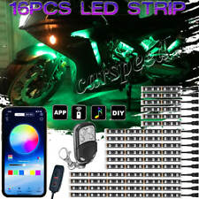 16pcs RGB Motorcycle LED Light bluetooth Control Neon Accent Glow Body Strip Kit