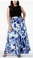 BETSY & ADAM Women's Black Blue Floral Gown Dress Plus Size 14W #B16 NEW