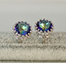 18K White Gold Filled Crown 9MM MYSTICAL Rainbow Round Topaz Gemstone Earrings
