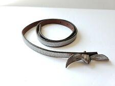 Banana Republic Belt Metallic Silver Narrow Leather XS / S Bow Buckle Womens