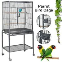 Large Parrot Cage Rolling Metal Bird Cage for Lovebird Cockatoo Conure 132cm